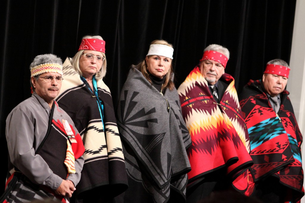 (Left to Right) Alroy Baker, Cultural leader, Ann Howard, BC Housing, Linda Ross, former AHMA CEO, Jim Crisp, former BC Housing employee and Ray Jones, former AHMA President.