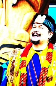 Artist Mike Dangeli at the opening of the Dave Pranteau Aboriginal Children's Village