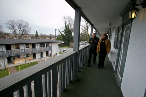 Victoria Native Friendship Centre executive director Bruce Parisian and property manager Linda Ross take a tour of Siem Lelum House on Tuesday. Photograph by: DARREN STONE, Times Colonist