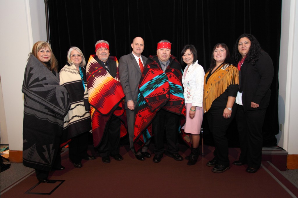 Cultural leader led participants and guests through the Witnessing Ceremony, a traditional Coast Salish ceremony to commemorate and honour the agreement between the B.C. government and AHMA.